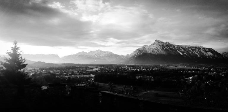 Countryside photo - Salzburg, Austria. 'Festungsberg, 2.' Panorama of the Berchtesgaden Alps, the mountain range that lays between Germany and Austria. sketchbookexplorer.com @davidasutton @sketchbookexplorer Facebook.com/davidanthonysutton #photograph #b&w #salzburg #travel #travelblog #untersberg
