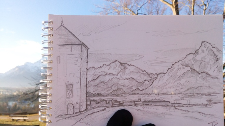 Countryside Art photo - Salzburg, Austria. 'Festungsberg.' Sketched on a cold Boxing Day morning. View of Untersberg mountain, from nearby Salzburg Castle. There has been a cable car to the top of Untersberg since 1961. sketchbookexplorer.com @davidasutton @sketchbookexplorer Facebook.com/davidanthonysutton #drawing #sketch #salzburg #travel #travelblog #untersberg