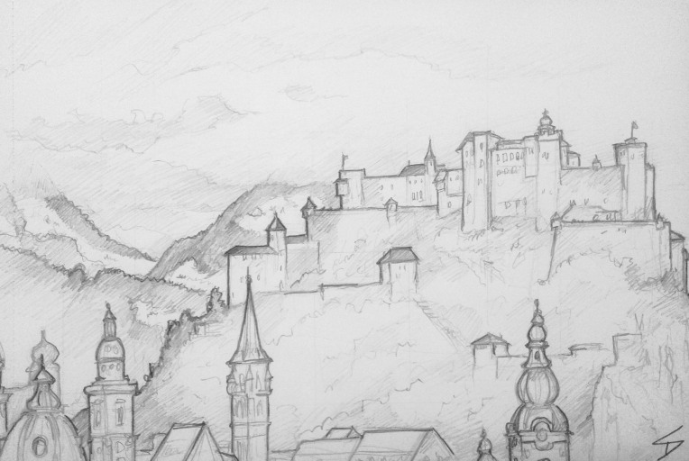 Urban Art - Salzburg, Austria. 'Mönchsberg.' View of Hohensalzburg Fortress. sketchbookexplorer.com @davidasutton @sketchbookexplorer Facebook.com/davidanthonysutton #drawing #sketch #salzburg #travel #travelblog #hohensalzburg