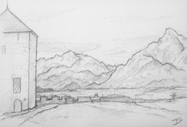 Countryside Art - Salzburg, Austria. 'Festungsberg.' View of Untersberg mountain, from nearby Salzburg Castle. sketchbookexplorer.com @davidasutton @sketchbookexplorer Facebook.com/davidanthonysutton #drawing #sketch #salzburg #travel #travelblog #untersberg