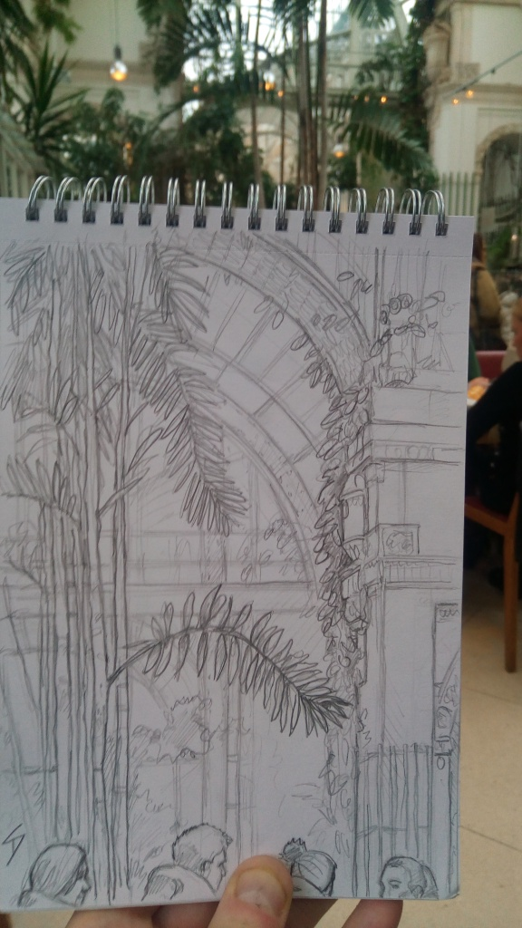 Urban Art photo - Vienna, Austria. 'Palmenhaus Cafe and Restaurant.' When it is snowing outside, where better to warm up, and grab a drink or a meal, than a tropical glass house. Relax below the palm trees in this elegant brasserie. sketchbookexplorer.com @davidasutton @sketchbookexplorer Facebook.com/davidanthonysutton #drawing #sketch #vienna #travel #travelblog #Palmenhaus