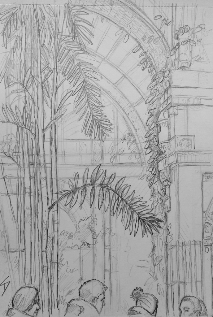 Urban Art - Vienna, Austria. 'Palmenhaus Cafe & Brasserie.' View from inside this elegant glasshouse. sketchbookexplorer.com @davidasutton @sketchbookexplorer Facebook.com/davidanthonysutton #drawing #sketch #vienna #travel #travelblog #Palmenhaus