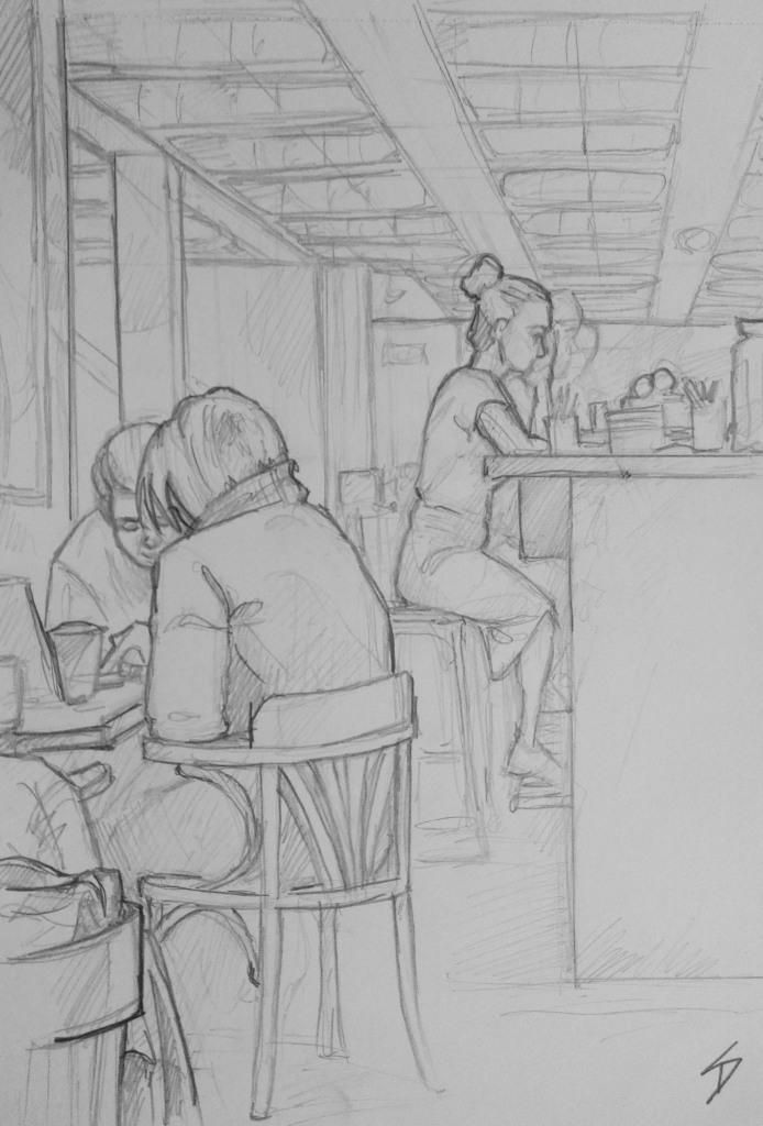 Urban Art - Prague, Czech Republic. 'Cafe Nona.' Sketch of my fellow cafe goers. sketchbookexplorer.com @davidasutton @sketchbookexplorer Facebook.com/davidanthonysutton #drawing #sketch #Prague #travel #travelblog #cafenona