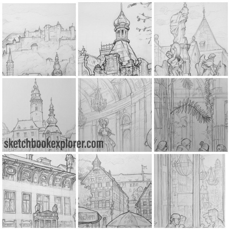 Urban Art - Europe '2018.' Nine of my favorite sketches from 2018. sketchbookexplorer.com @davidasutton @sketchbookexplorer Facebook.com/davidanthonysutton #drawing #sketch #europe #art #travel #travelblog #bestof2018