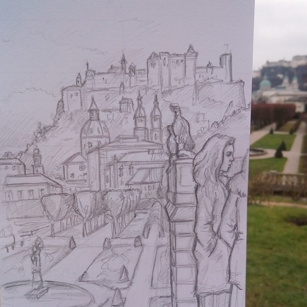 Urban Art photo - Salzburg, Austria. 'Kurgarten Park.' View across Mirabellgarten Park of Hohensalzburg Fortress. Constructed in 1687, Mirabellgarten Park was the location used for several scenes in the film 'The Sound of Music.' During the sketch, a group of female classical singers began shooting a music video nearby. I added them to the drawing. sketchbookexplorer.com @davidasutton @sketchbookexplorer Facebook.com/davidanthonysutton #drawing #sketch #salzburg #travel #travelblog #mirabellgarten