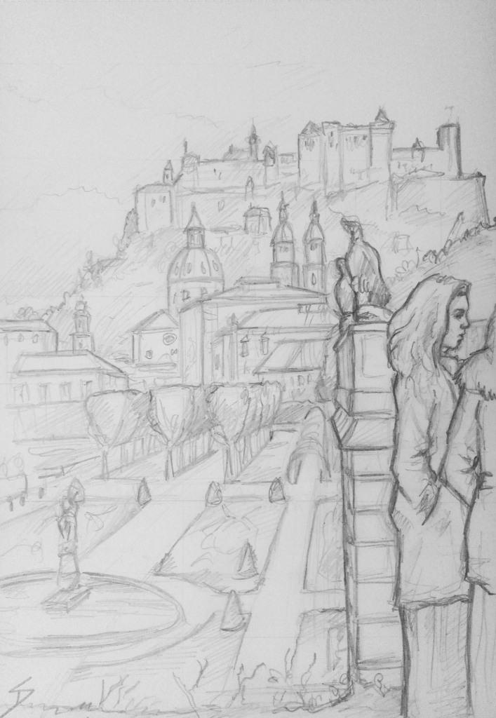 Urban Art - Salzburg, Austria. 'Kurgarten Park.' Mirabellgarten Park and Hohensalzburg Fortress. sketchbookexplorer.com @davidasutton @sketchbookexplorer Facebook.com/davidanthonysutton #drawing #sketch #salzburg #travel #travelblog #mirabellgarten