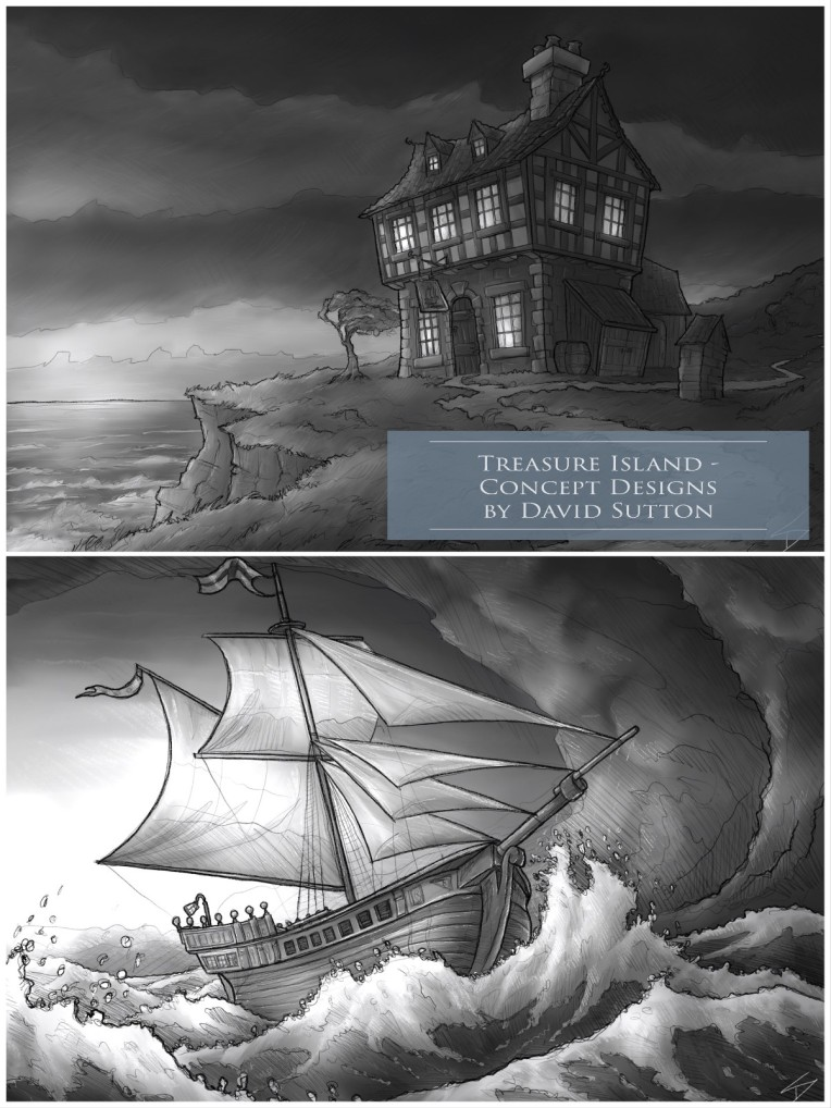 Concept Art / Illustrations - 'Treasure Island,3.' My illustrated set designs for 'Treasure Island.' Admiral Benbow Inn, and the Hispaniola. Personal portfolio project. sketchbookexplorer.com @davidasutton @sketchbookexplorer Facebook.com/davidanthonysutton #drawing #sketch #illustration #art #conceptart #digitalart #treasureisland