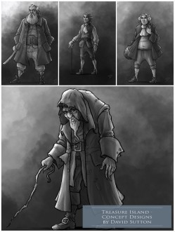 Concept Art / Illustrations - 'Treasure Island,1.' My illustrated character designs for 'Treasure Island'. Billy Bones, Pew, Dr Livesey, and Squire Trelawney. Personal portfolio project. sketchbookexplorer.com @davidasutton @sketchbookexplorer Facebook.com/davidanthonysutton #drawing #sketch #illustration #art #conceptart #digitalart #treasureisland