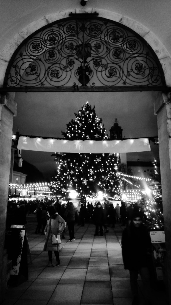 Urban photo - Residenzplatz, Salzburg, Austria. 'Salzburg Christmas Market.' The festive side of Salzburg. sketchbookexplorer.com @davidasutton @sketchbookexplorer Facebook.com/davidanthonysutton #photograph #b&w #salzburg #travel #travelblog #salzburgchristmas