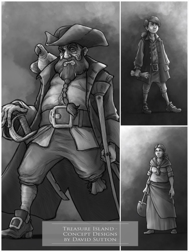 Concept Art / Illustrations - 'Treasure Island,2.' My illustrated character designs for 'Treasure Island'. Long John Silver, Jim Hawkins, and Jim's mother. Personal portfolio project. sketchbookexplorer.com @davidasutton @sketchbookexplorer Facebook.com/davidanthonysutton #drawing #sketch #illustration #art #conceptart #digitalart #treasureisland