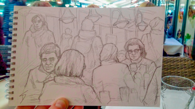 Urban Art Photo - Minerlgasse, Vienna, Austria. 'Naschmarkt.' Scene sketched from one of the many restaurants in this large market - the most famous food market in Austria. sketchbookexplorer.com @davidasutton @sketchbookexplorer Facebook.com/davidanthonysutton #drawing #sketch #vienna #travel #travelblog #naschmarkt