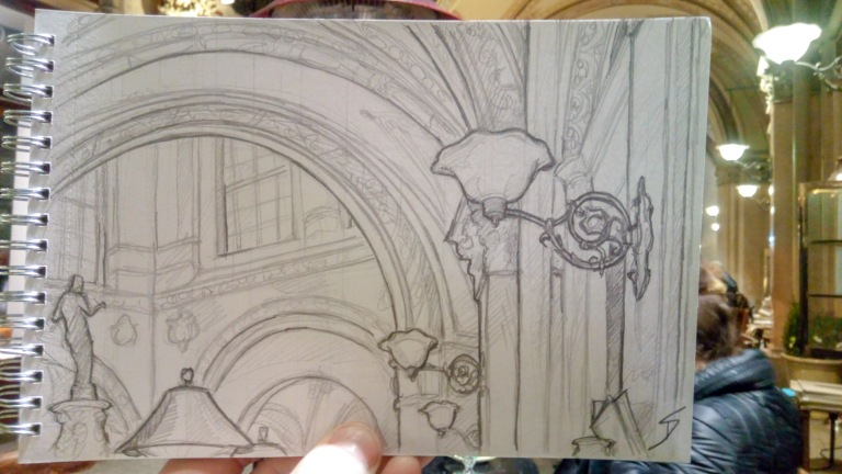 Urban Art Photo - Palais Ferstel, Vienna, Austria. 'Beaulieu Bistro.' View from an elegant bistro in this covered palace passageway. It can be found off Herrengasse Street. sketchbookexplorer.com @davidasutton @sketchbookexplorer Facebook.com/davidanthonysutton #drawing #sketch #vienna #travel #travelblog #beaulieuvienna