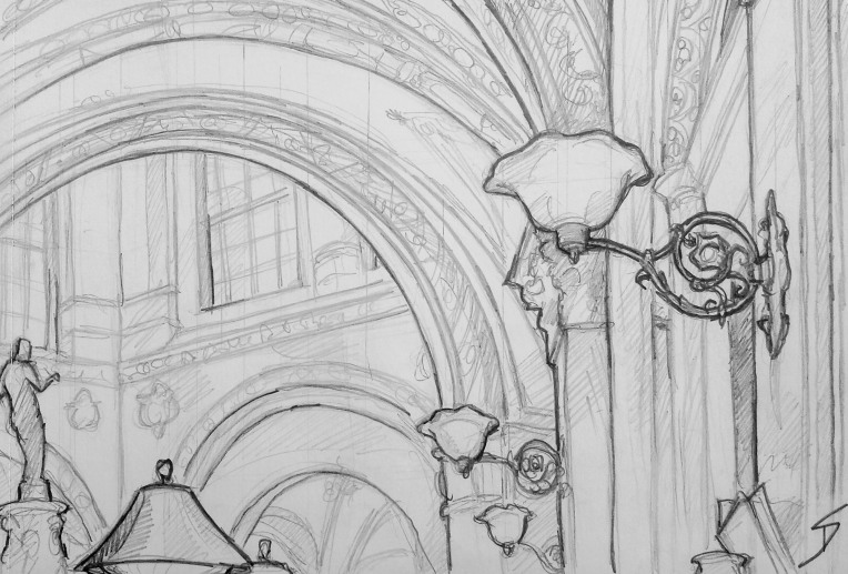 Urban Art - Palais Ferstel, Vienna, Austria. 'Beaulieu Bistro.' Interior view of the palace passageway. sketchbookexplorer.com @davidasutton @sketchbookexplorer Facebook.com/davidanthonysutton #drawing #sketch #vienna #travel #travelblog #beaulieuvienna