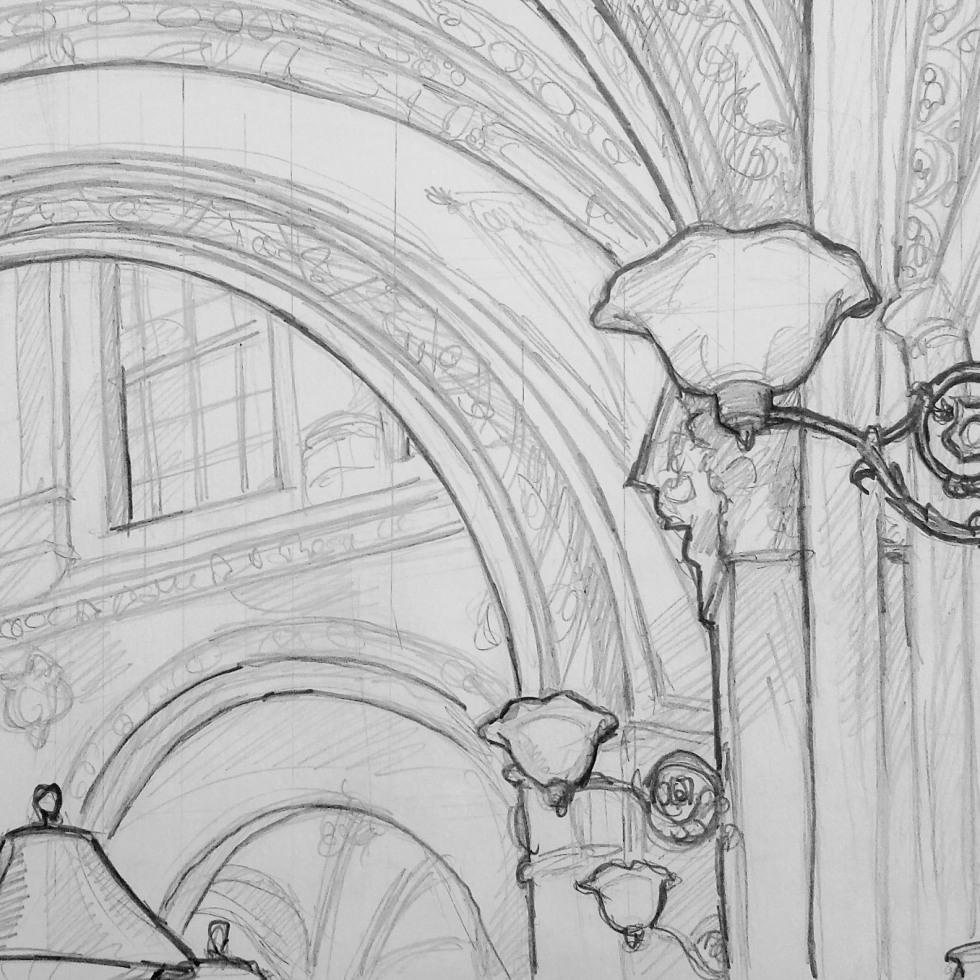 Urban Art - Palais Ferstel, Vienna, Austria. 'Beaulieu Bistro.' Interior view of the palace passageway. sketchbookexplorer.com @davidasutton @sketchbookexplorer Facebook.com/davidanthonysutton #drawing #sketch #vienna #travel #travelblog #beaulieuvienna