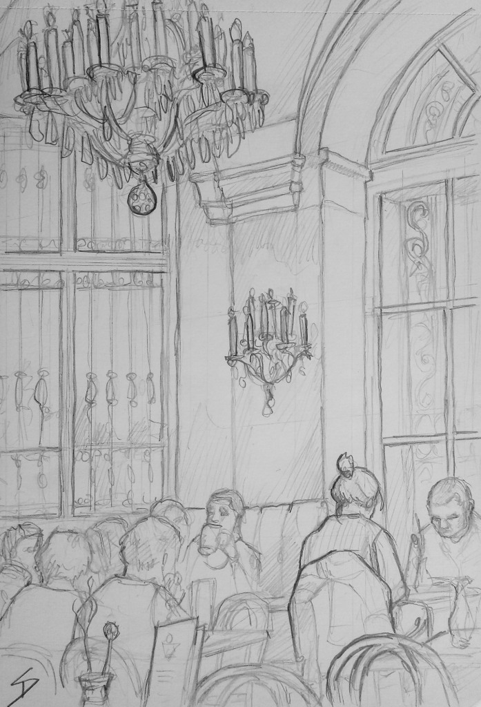 Urban Art - Prinz Eugen-Straße, Vienna, Austria. 'Cafe Menagerie, Belvedere Palace.' View from inside this Baroque cafe / bistro. sketchbookexplorer.com @davidasutton @sketchbookexplorer Facebook.com/davidanthonysutton #drawing #sketch #vienna #travel #travelblog #cafemenageriebelvedere