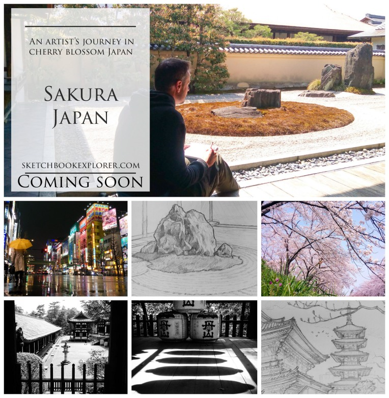 'SAKURA JAPAN, an Artist's journey in Cherry blossom Japan' ... Coming soon to sketchbookexplorer.com sketchbookexplorer.com @davidasutton @sketchbookexplorer Facebook.com/davidanthonysutton #drawing #sketch #photography #japan #tokyo #Kyoto #nara #osaka #travel #travelblog #cherryblossom #cherryblossomseason #cherryblossomjapan