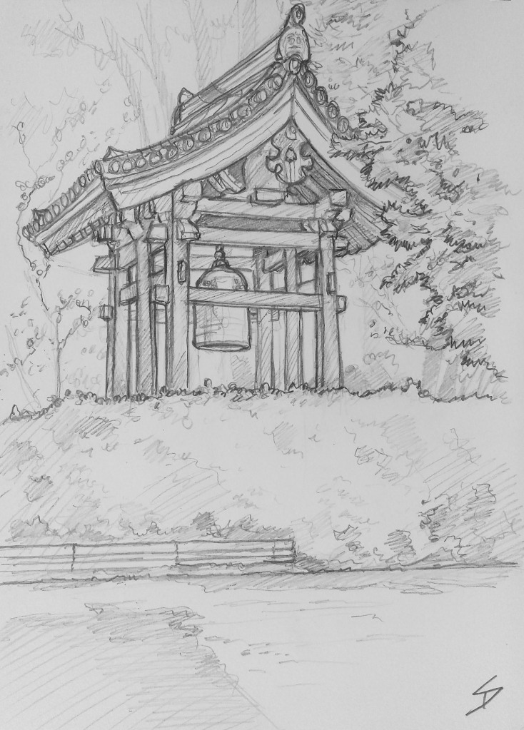 Urban art - Gojocho, Nara, Japan. 'Toshodaiji Temple.' The founder of the temple 'Jianzhen'(a Chinese Monk) was invited to Japan, by the Emperor, to improve the country's knowledge of Buddhism. sketchbookexplorer.com @davidasutton @sketchbookexplorer Facebook.com/davidanthonysutton #japan #nara #gojocho #toshodaijitemple #travel #travelblog #art #sketching #cheeryblossom #cherryblossomseason