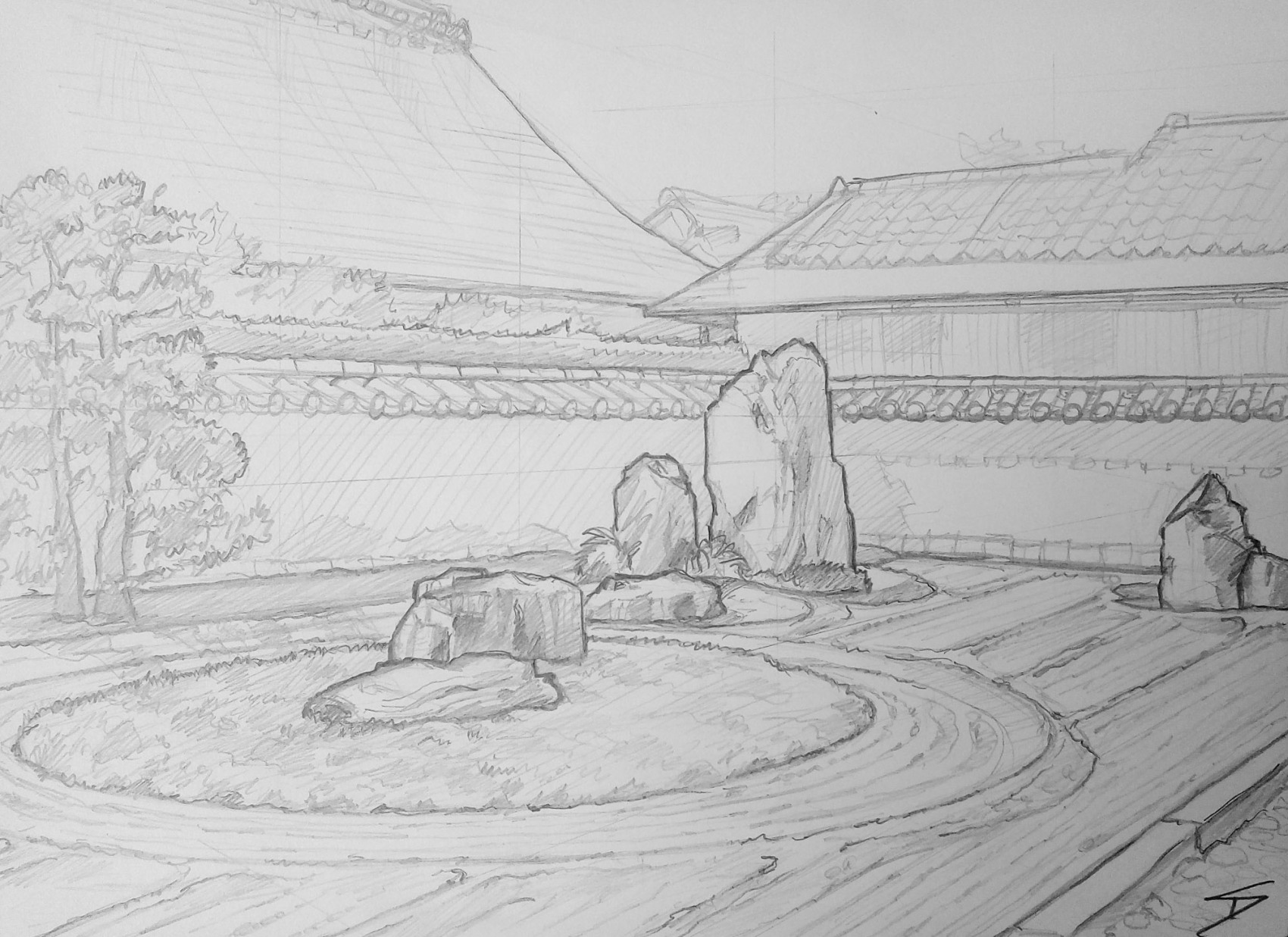 Urban art - Murasakino, Kyoto, Japan. 'Ryogen-in Temple.' The centre rock of the Isshidan garden represents Mount Horai, and the other collections of rocks represent Crane Island and Tortoise Island, with the white combed sand standing in for the ocean. sketchbookexplorer.com @davidasutton @sketchbookexplorer Facebook.com/davidanthonysutton #japan #kyoto #kitaward #daitokuji #ryogenintemple #travel #travelblog #art #sketching #cheeryblossom #cherryblossomseason