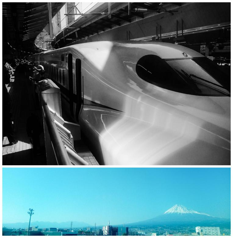 Urban Photos - Shizuoka Prefecture and Tokyo Station, Japan.'Tokaido Shinkansen Line.' The Shinkansen (Bullet train), and the view of Mount Fuji from the train between Tokyo and Kyoto. Beginning operations in 1964, the Shinkansen (New Trunkline, in Japanese. Known as the Bullet train in the West) is a high speed rail line, that connects most of Japan's major cities. The trains can reach speeds of 320km/h (200mph). If you plan to travel a lot around Japan, consider looking into a JR rail pass. Mount Fuji is the highest volcano in Japan, and though it is located 100km from Tokyo, it can be seen from the city on clear days. The volcano has become a symbol of Japan, and has been popularized in world visual consciousness thanks, in part, to a famed set of landscape woodblock prints 'Thirty six views of Mount Fuji' by ukiyo-e artist Katsushika Hokusai. sketchbookexplorer.com @davidasutton @sketchbookexplorer Facebook.com/davidanthonysutton #japan #shinkansen #jrrailpass #shizuoka #mountfuji #travel #travelblog #photography #cheeryblossom #cherryblossomseason