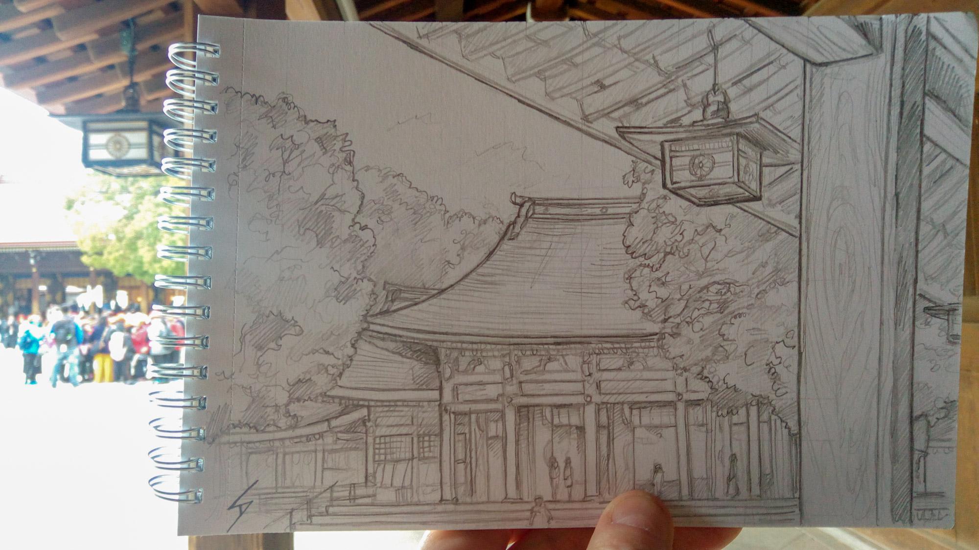 Urban photo art - Shibuya, Tokyo, Japan. 'Meiji Shrine.' The original buildings were destroyed in WW2, though it was impressively restored by public fundraising in 1958. sketchbookexplorer.com @davidasutton @sketchbookexplorer Facebook.com/davidanthonysutton #japan #tokyo #taito #meijishrine #travel #travelblog #art #sketching #cheeryblossom #cherryblossomseason #cherryblossomjapan
