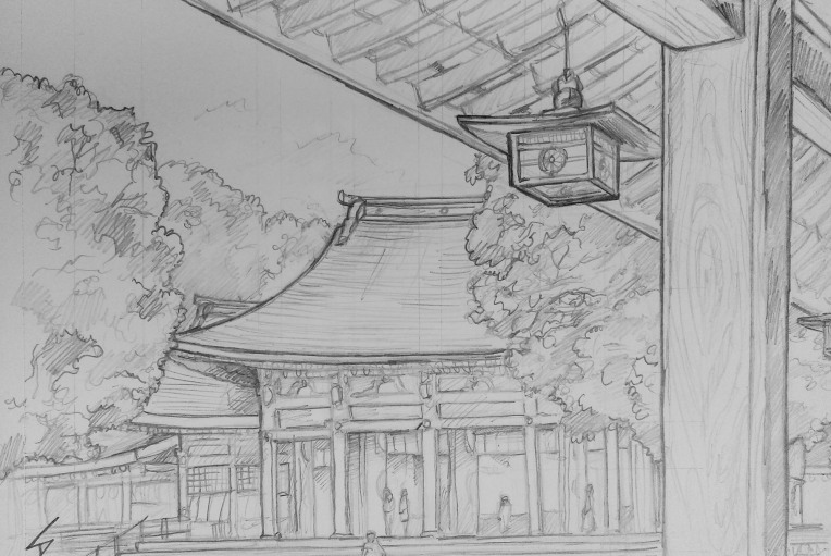 Urban art - Shibuya, Tokyo, Japan. 'Meiji Shrine.' It is the most popular Shinto shrine in Japan during Hatsumode (the first shrine visit of the Japanese New Year). sketchbookexplorer.com @davidasutton @sketchbookexplorer Facebook.com/davidanthonysutton #japan #tokyo #taito #meijishrine #travel #travelblog #art #sketching #cheeryblossom #cherryblossomseason #cherryblossomjapan