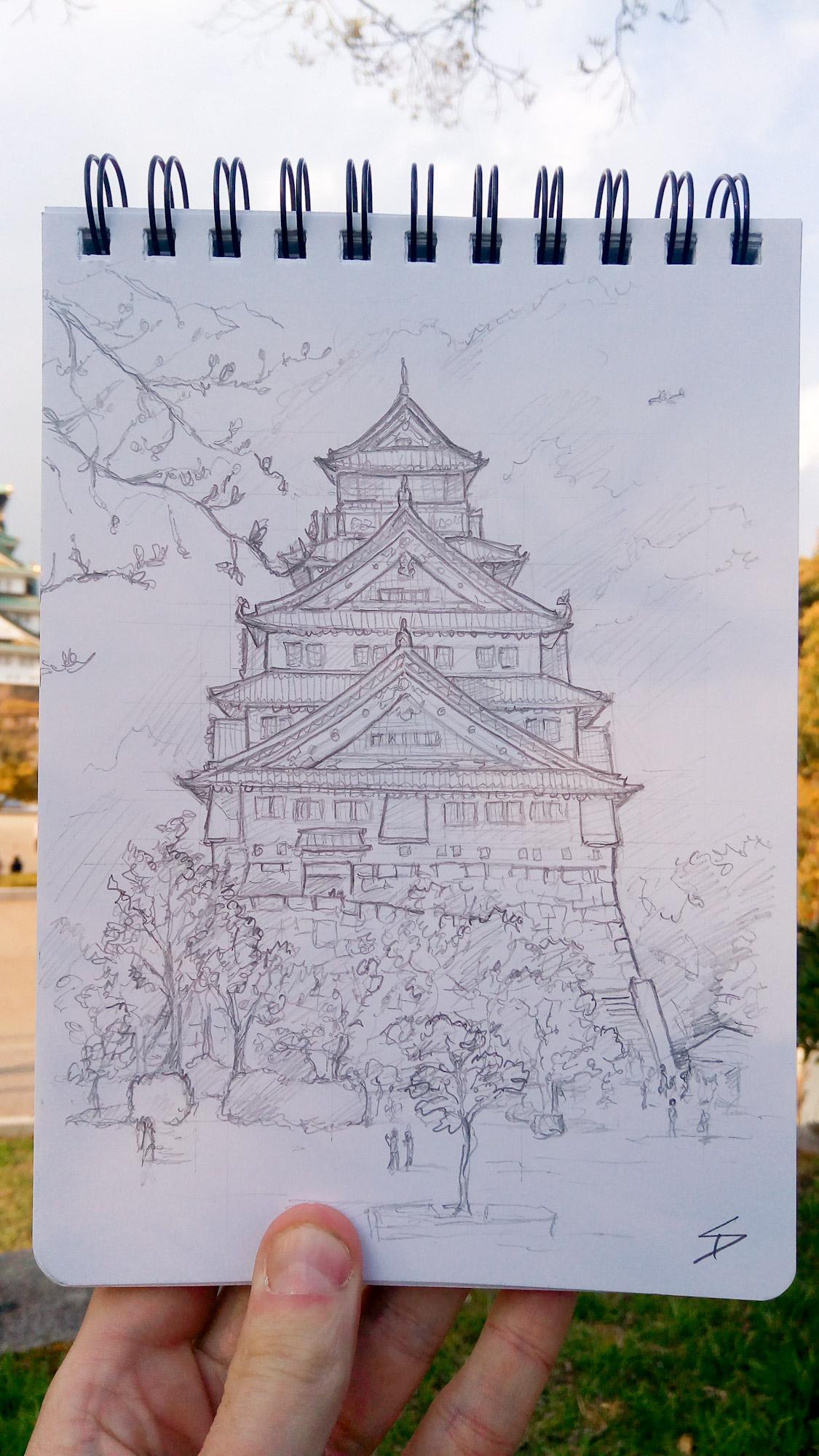 Urban photo art - Chuo Ward, Osaka, Japan. 'Osaka Castle.' The castle has stared in film and television - 'Godzilla Raids Again,''Shogun' and the James Bond film 'You only live twice.' sketchbookexplorer.com @davidasutton @sketchbookexplorer Facebook.com/davidanthonysutton #japan #osaka #chuoward #osakacastle #travel #travelblog #photography #art #sketching #cheeryblossom #cherryblossomseason