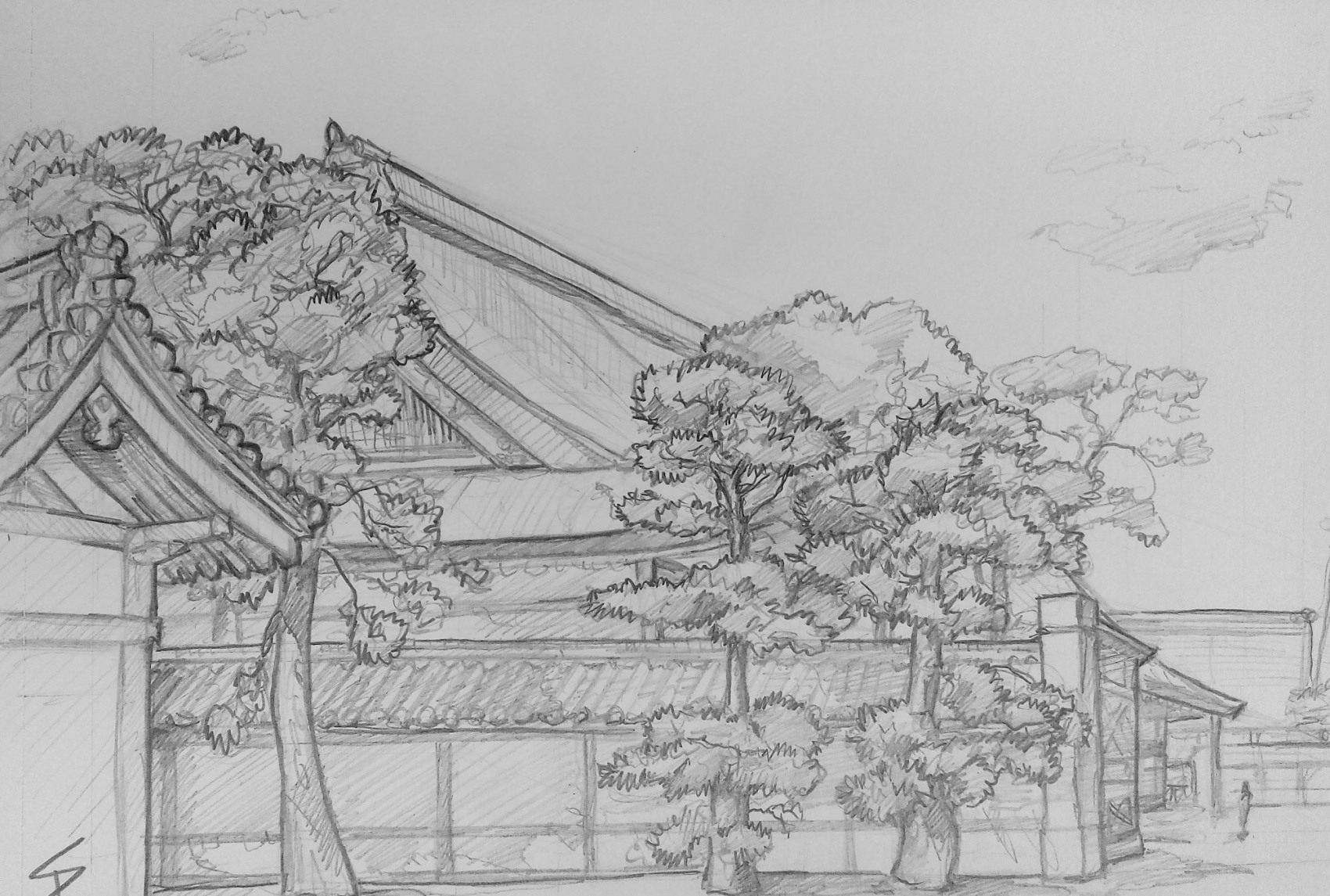 Urban art - Kamigyo Ward, Kyoto, Japan.'Kyoto Imperial Palace.' Sketched from a public seating area, set up to give shade to visitors. The Palace is surrounded by a large public park, blooming with cherry blossom, and perfect for a spot of Hanami. sketchbookexplorer.com @davidasutton @sketchbookexplorer Facebook.com/davidanthonysutton #japan #kyoto #kamigyoward #kyotoimperialpalace #travel #travelblog #art #sketching #cheeryblossom #cherryblossomseason