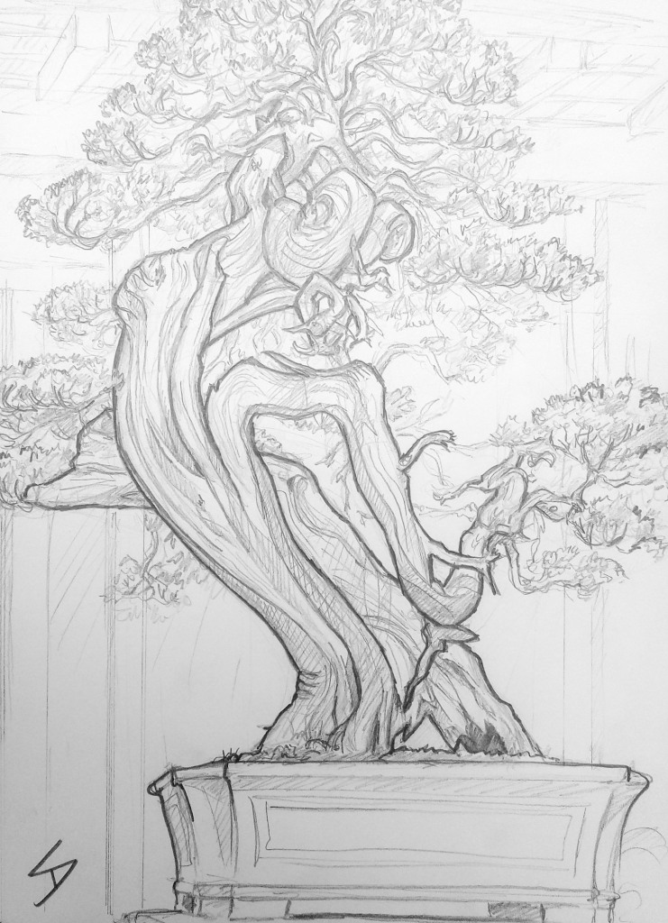 Urban art - Edogawa City, Tokyo, Japan. 'Shunka-en Bonsai Museum.' Known as a Shimpaku (Sargent Juniper), this mountainous tree is valued for the stunning patterns that can be realized with its whitened deadwood. This specimen was beautiful to behold, and a challenge to sketch, with its maze-like twisted branches. It is no wonder this type of tree is sometimes compared to a cascading waterfall. sketchbookexplorer.com @davidasutton @sketchbookexplorer Facebook.com/davidanthonysutton #japan #tokyo #edogawa #shunkaenbonsaimuseum #travel #travelblog #art #sketching #cheeryblossom #cherryblossomseason #cherryblossomjapan