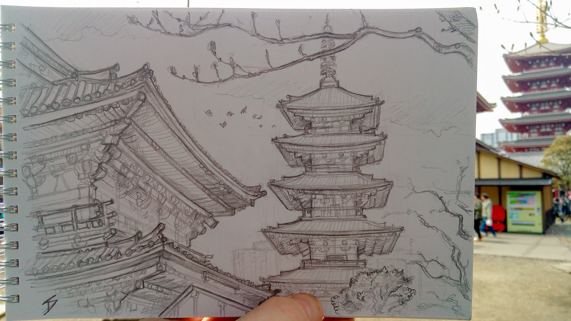 Urban photo art - Asakusa, Tokyo, Japan. 'Senso-ji Temple.' While sketching this, I experienced the first sign of Japanese love for art, as onlookers would happily come over to me and express their delight at my work. sketchbookexplorer.com @davidasutton @sketchbookexplorer Facebook.com/davidanthonysutton #japan #tokyo #asakusa #Sensojitemple #travel #travelblog #art #sketching #cheeryblossom #cherryblossomseason #cherryblossomjapan