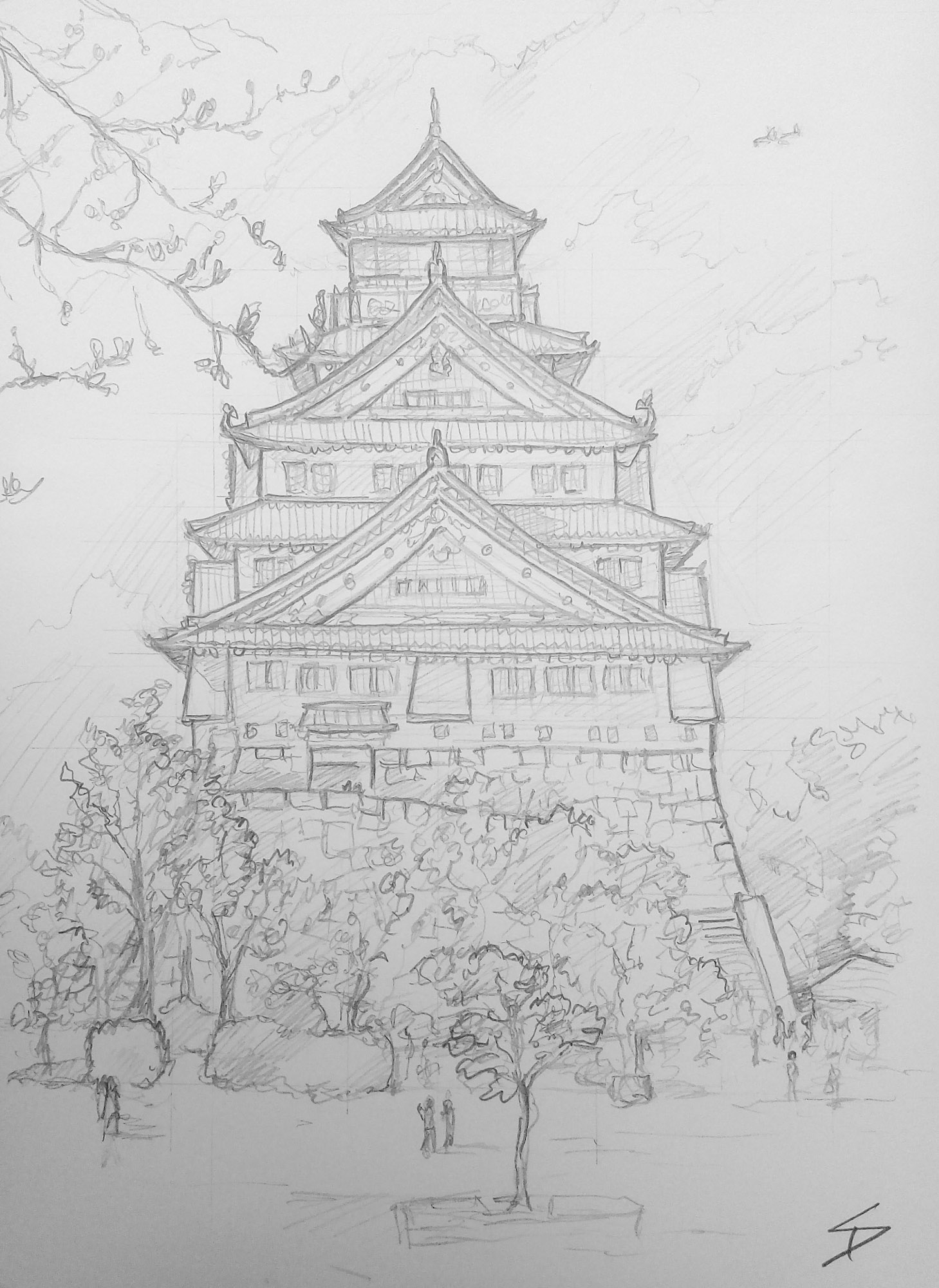 Urban art - Chuo Ward, Osaka, Japan. 'Osaka Castle.' Took some searching to get this view, including a little climbing. sketchbookexplorer.com @davidasutton @sketchbookexplorer Facebook.com/davidanthonysutton #japan #osaka #chuoward #osakacastle #travel #travelblog #art #sketching #cheeryblossom #cherryblossomseason