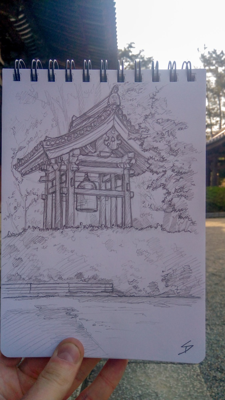 Urban photo art - Gojocho, Nara, Japan. 'Toshodaiji Temple.' The architecture of the temple is considered a good example of 'classical style.' And unlike some temples in Kyoto, I found this one relatively peaceful. Though it is located someway from the centre of Nara, my long walk there revealed some amazing scenes of cherry blossom. sketchbookexplorer.com @davidasutton @sketchbookexplorer Facebook.com/davidanthonysutton #japan #nara #gojocho #toshodaijitemple #travel #travelblog #photography #art #sketching #cheeryblossom #cherryblossomseason