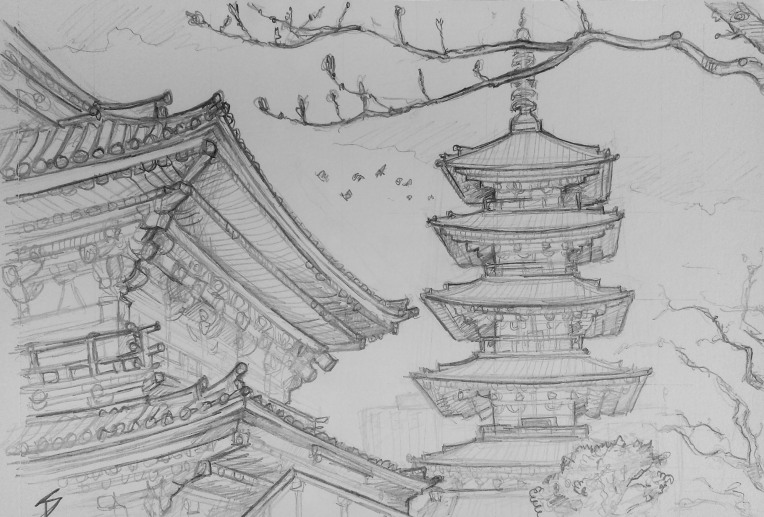 Urban art - Asakusa, Tokyo, Japan. 'Senso-ji Temple.' The temple is dedicated to the Buddhist goddess of compassion. Legend says it was built near a location where two fisherman discovered a statue of Kannon in the Sumida river. sketchbookexplorer.com @davidasutton @sketchbookexplorer Facebook.com/davidanthonysutton #japan #tokyo #asakusa #Sensojitemple #travel #travelblog #art #sketching #cheeryblossom #cherryblossomseason #cherryblossomjapan
