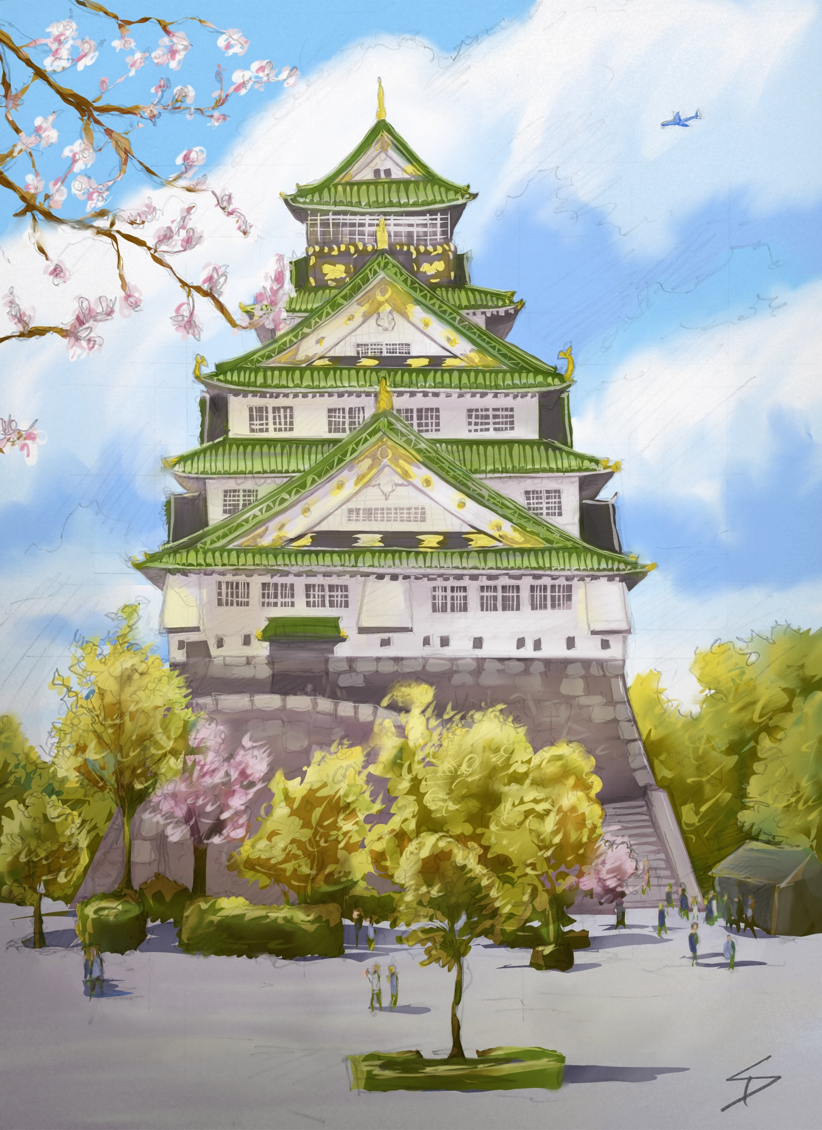 Ipad art - Chuo Ward, Osaka, Japan. 'Osaka Castle.' A digitally painted up version of my original sketch. sketchbookexplorer.com @davidasutton @sketchbookexplorer Facebook.com/davidanthonysutton #japan #osaka #chuoward #osakacastle #travel #travelblog #art #sketching #cheeryblossom #cherryblossomseason #cherryblossomjapan #ipadart #procreate #sketchbookpro