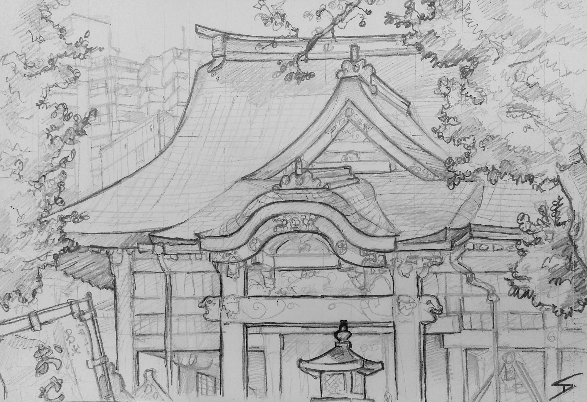 Urban art - Urban photo art - Toshima City, Tokyo, Japan. 'Zoshigaya Kishimoiji Shrine.' Dating back to 1561, this shrine (dedicated to the easy delivery and raising of children) was once visited by Shoguns. sketchbookexplorer.com @davidasutton @sketchbookexplorer Facebook.com/davidanthonysutton #japan #osaka #chuoward #osakacastle #travel #travelblog #art #sketching #cheeryblossom #cherryblossomseason
