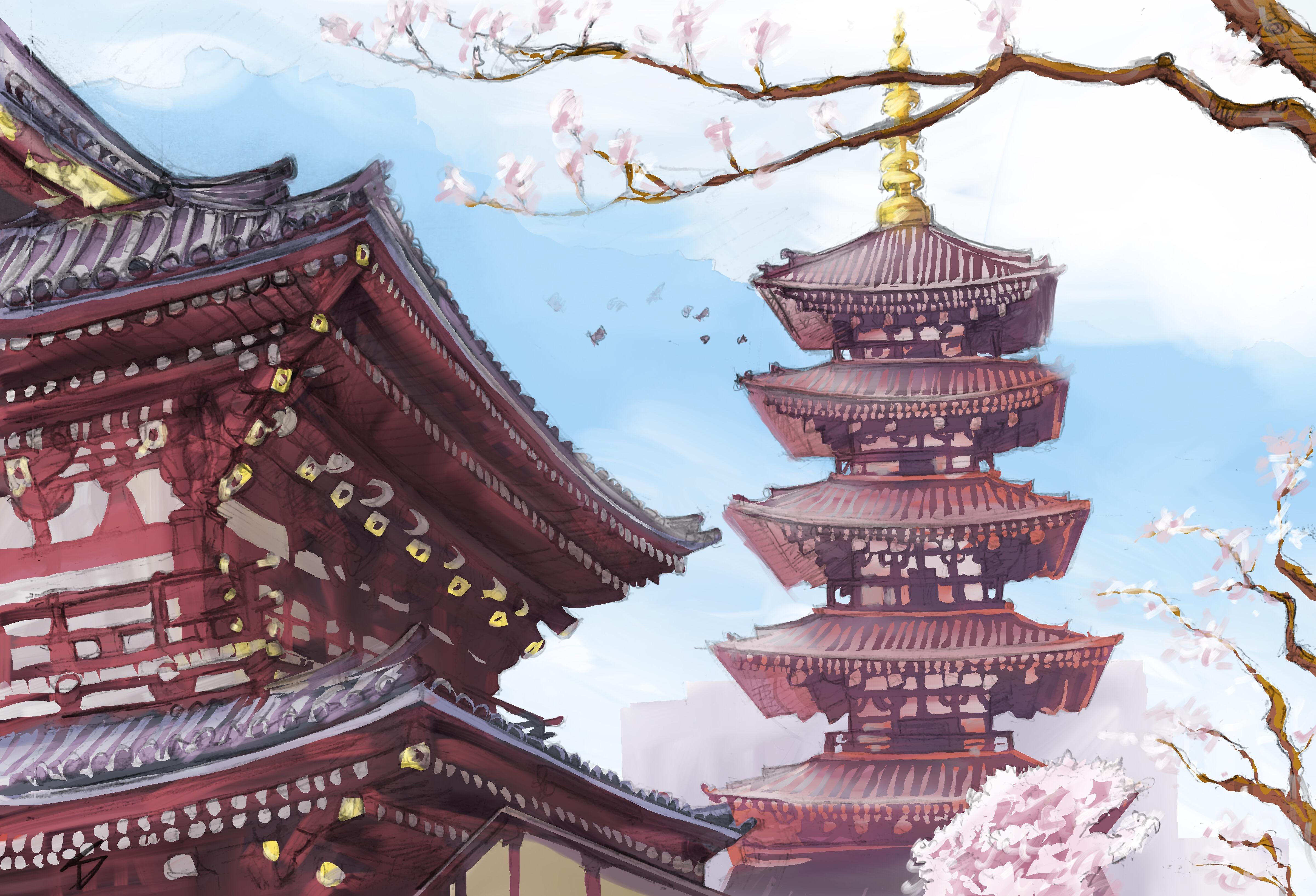 Ipad art - Asakusa, Tokyo, Japan. 'Senso-ji Temple.' A digitally painted up version of my original sketch. sketchbookexplorer.com @davidasutton @sketchbookexplorer Facebook.com/davidanthonysutton #japan #tokyo #asakusa #Sensojitemple #travel #travelblog #art #sketching #cheeryblossom #cherryblossomseason #cherryblossomjapan #ipadart #procreate #sketchbookpro