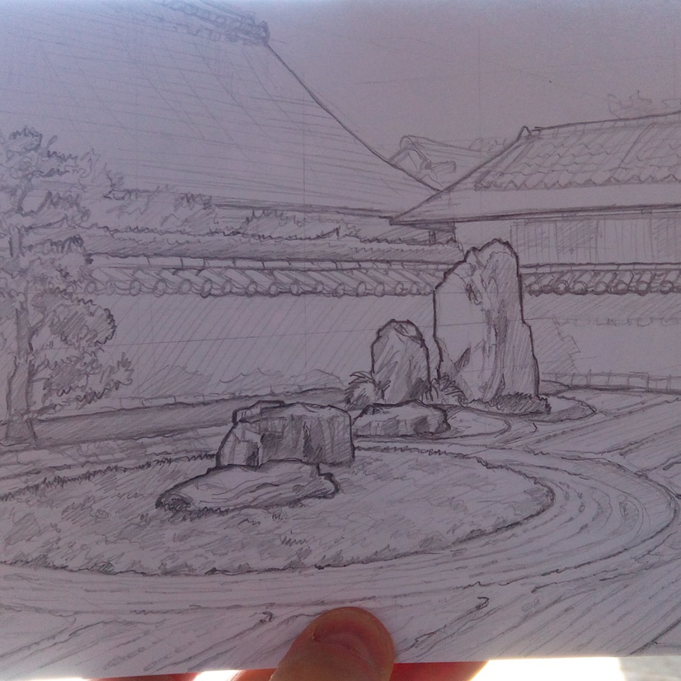 Urban photo art – Murasakino, Kyoto, Japan. 'Ryogen-in Temple.' Artwork from my latest travel art blog article 'Sakura Japan.' Now online - sketchbookexplorer.com @davidasutton @sketchbookexplorer Facebook.com/davidanthonysutton #sketch #drawing #art #japan #Kyoto #Ryogenintemple #zengarden #meditation #travel #travelblog #cherryblossom #cherryblossomseason #cherryblossomjapan