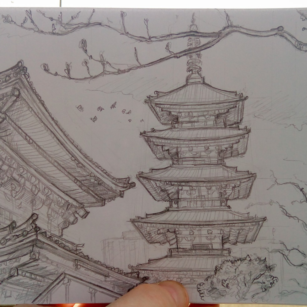 Urban photo art – Asakusa, Tokyo, Japan. 'Senso-ji Temple.' Complete image from my latest travel art blog article 'Sakura Japan.' Now online - sketchbookexplorer.com @davidasutton @sketchbookexplorer Facebook.com/davidanthonysutton #sketch #drawing #art #japan #tokyo #sakura #sensojitemple #buddhism #travel #travelblog #cherryblossom #cherryblossomseason