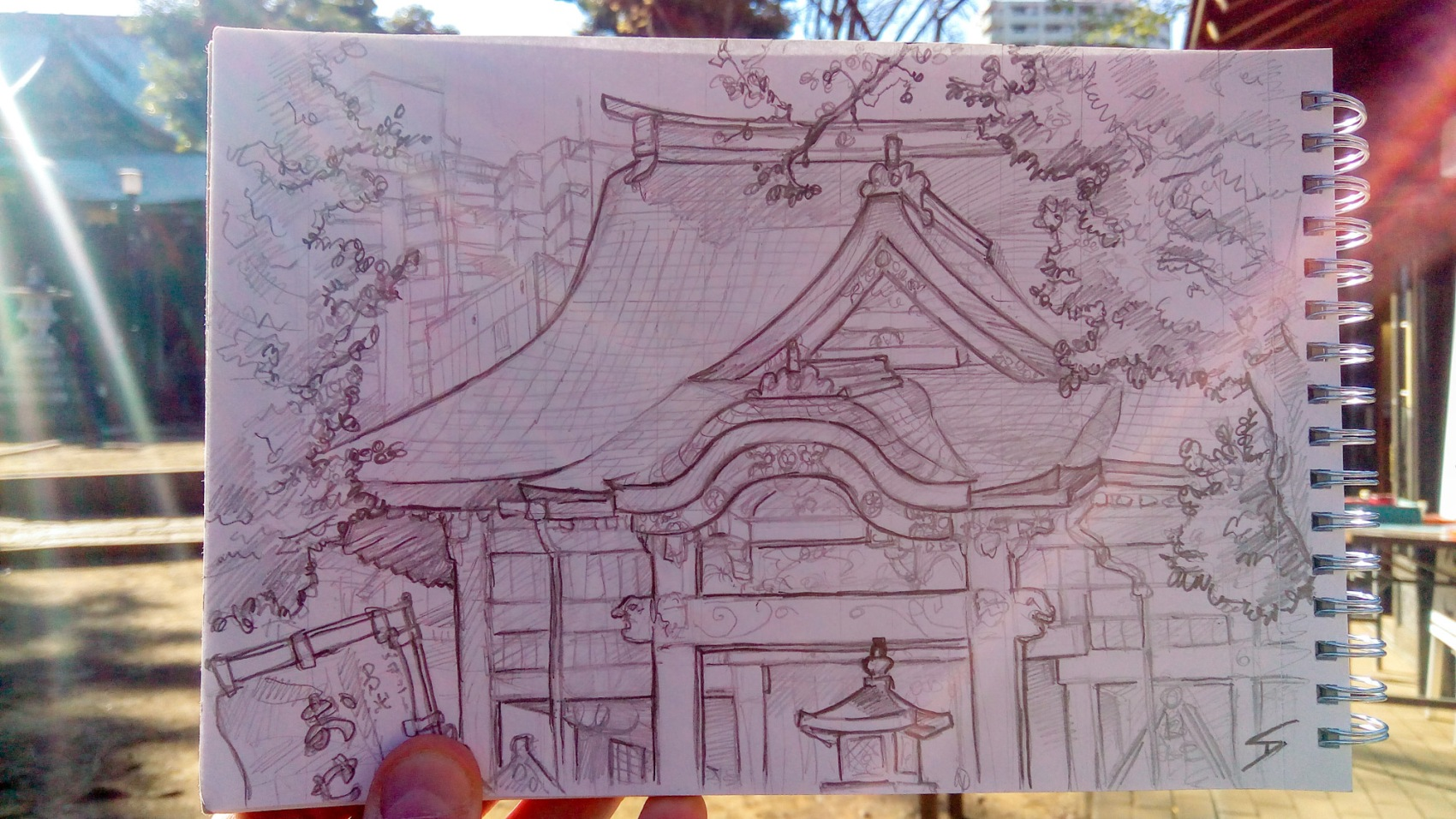 Urban photo art – Toshima City, Tokyo, Japan. 'Zoshigaya Kishimoiji Shrine.' Complete image from my latest travel art blog article 'Sakura Japan.' Now online - sketchbookexplorer.com @davidasutton @sketchbookexplorer Facebook.com/davidanthonysutton #sketch #drawing #art #japan #tokyo #sakura #zoshigayakishimoijishrine #shinto #samurai #travel #travelblog #cherryblossom #cherryblossomseason #cherryblossomjapan