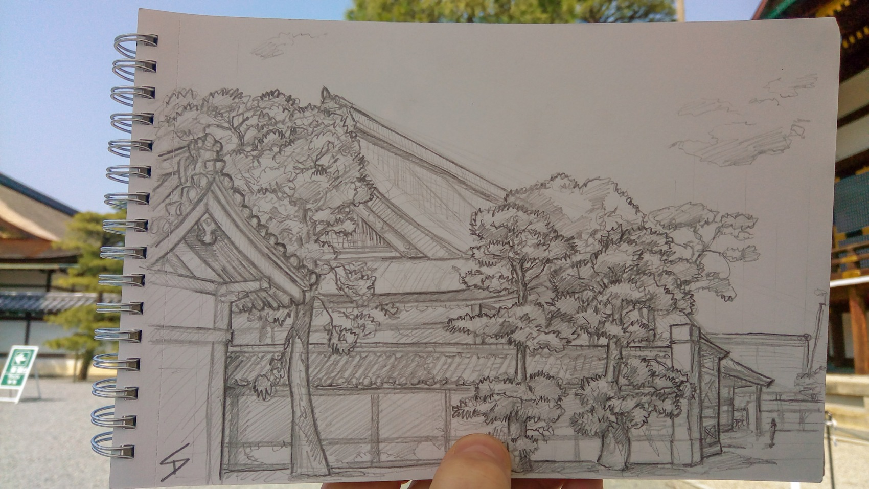 Urban photo art – Kamigyo Ward, Kyoto, Japan. 'Kyoto Imperial Palace.' Complete image from my latest travel art blog article 'Sakura Japan.' Now online - sketchbookexplorer.com @davidasutton @sketchbookexplorer Facebook.com/davidanthonysutton #sketch #drawing #art #japan #kyoto #sakura #kyotoimperialpalace #samurai #travel #travelblog #cherryblossom #cherryblossomseason