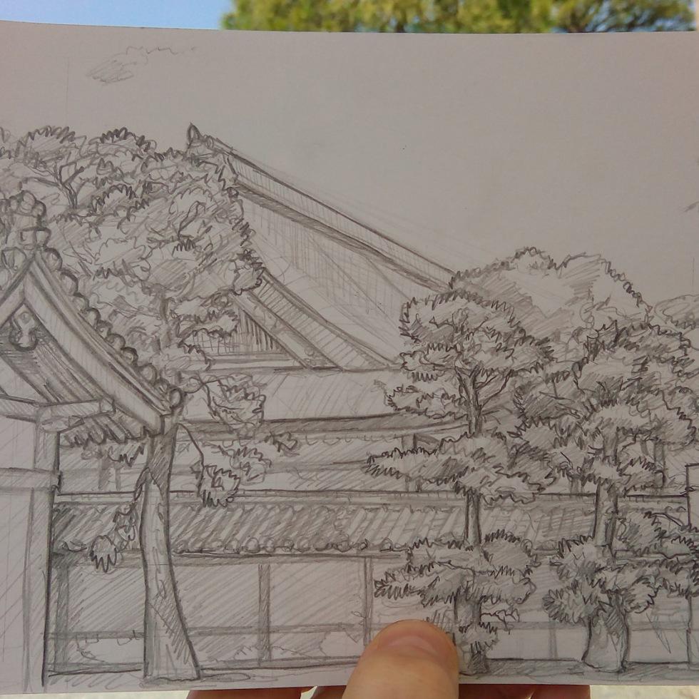 Urban photo art – Kamigyo Ward, Kyoto, Japan. 'Kyoto Imperial Palace.' Complete image from my latest travel art blog article 'Sakura Japan.' Now online - sketchbookexplorer.com @davidasutton @sketchbookexplorer Facebook.com/davidanthonysutton #sketch #drawing #art #japan #kyoto #sakura #kyotoimperialpalace #samurai #travel #travelblog #cherryblossom #cherryblossomseason