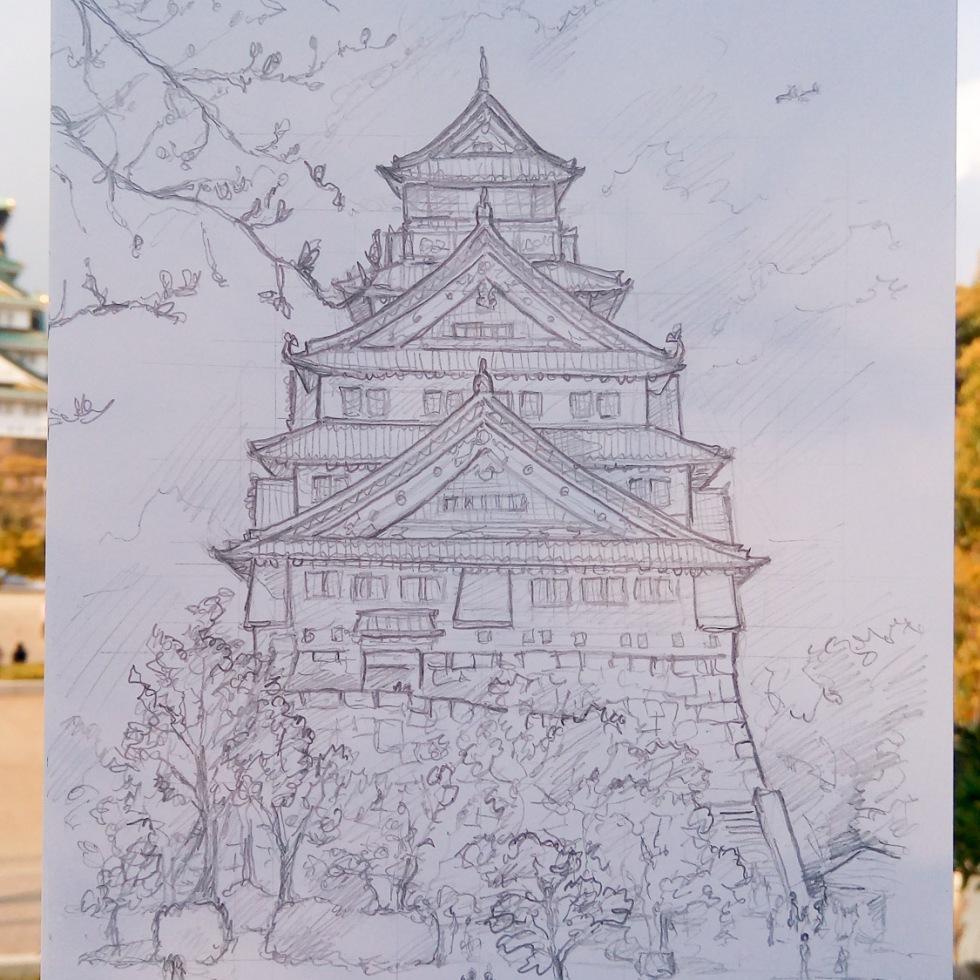 Urban photo art - Chuo Ward, Osaka, Japan. 'Osaka Castle.' Complete image from my latest travel art blog article 'Sakura Japan.' Now online - sketchbookexplorer.com @davidasutton @sketchbookexplorer Facebook.com/davidanthonysutton #sketch #drawing #art #japan #osaka #sakura #osakacastle #samurai #travel #travelblog #cherryblossom #cherryblossomseason #cherryblossomjapan