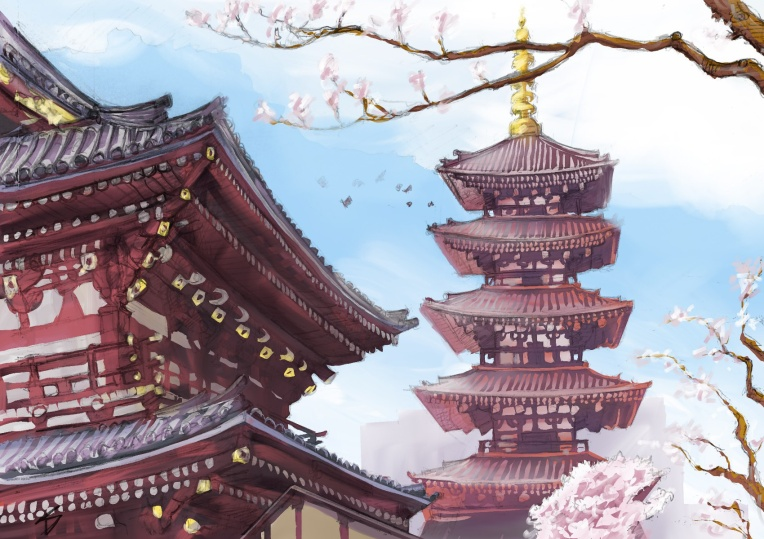 Ipad art – Asakusa, Tokyo, Japan. 'Senso-ji Temple.' Complete image from my latest travel art blog article 'Sakura Japan.' Now online - sketchbookexplorer.com @davidasutton @sketchbookexplorer Facebook.com/davidanthonysutton #sketch #drawing #painting #art #ipadart #iPad #japan #tokyo #sakura #sensojitemple #buddhism #travel #travelblog #cherryblossom #cherryblossomseason #cherryblossomjapan