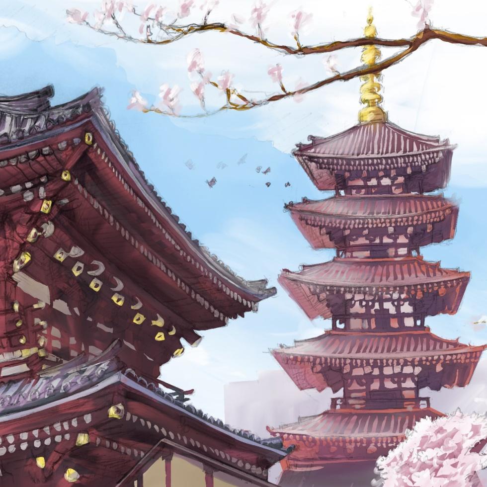 Ipad art – Asakusa, Tokyo, Japan. 'Senso-ji Temple.' Complete image from my latest travel art blog article 'Sakura Japan.' Now online - sketchbookexplorer.com @davidasutton @sketchbookexplorer Facebook.com/davidanthonysutton #sketch #drawing #painting #art #ipadart #iPad #japan #tokyo #sakura #sensojitemple #buddhism #travel #travelblog #cherryblossom #cherryblossomseason #cherryblossomjapan