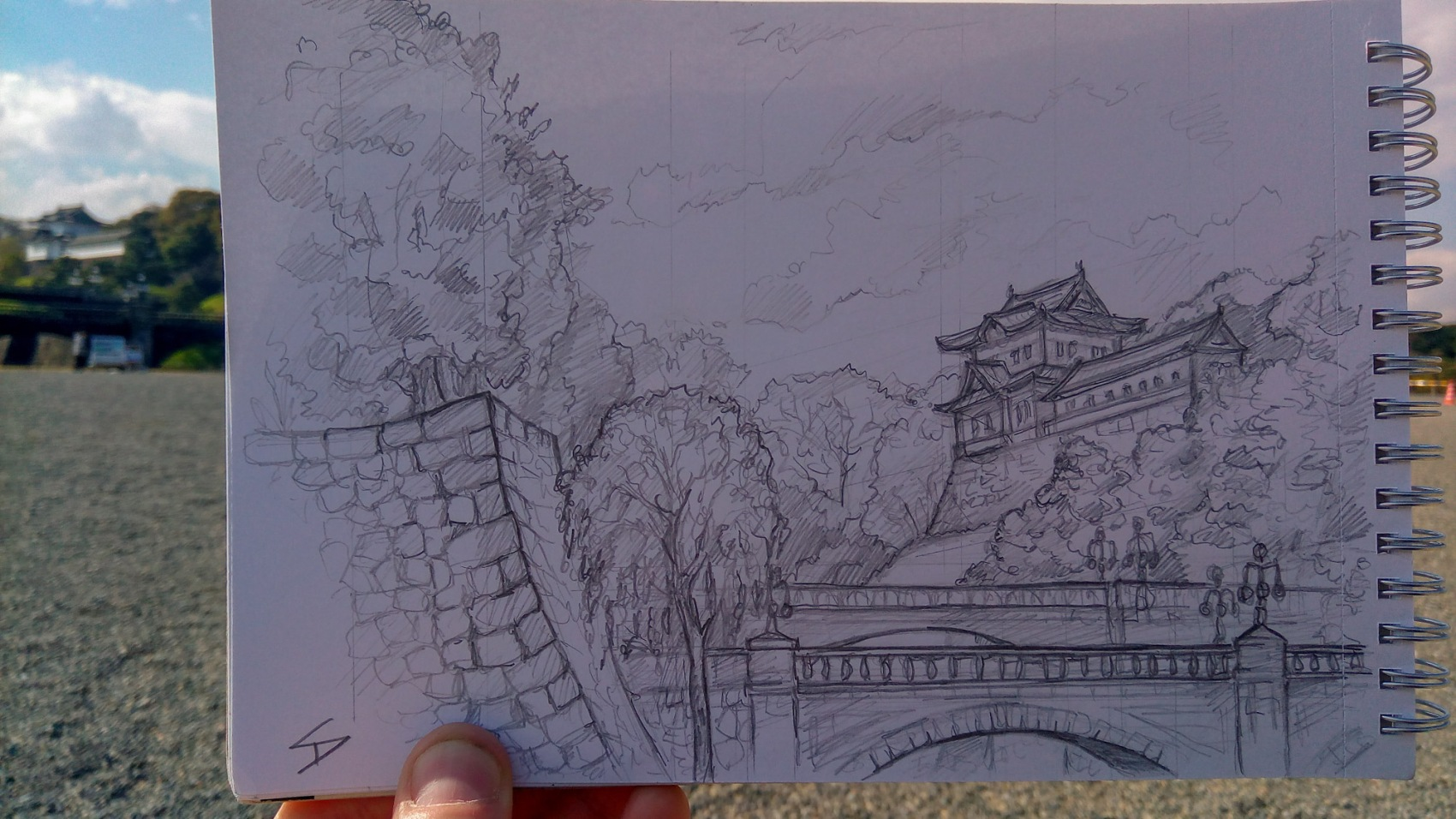 Urban photo art – Chiyoda City, Tokyo, Japan. 'Imperial Palace.' Artwork from my latest travel art blog article 'Sakura Japan.' Now online - sketchbookexplorer.com @davidasutton @sketchbookexplorer Facebook.com/davidanthonysutton #sketch #drawing #art #japan #tokyo #sakura #tokyoimperialpalace #samurai #travel #travelblog #cherryblossom #cherryblossomseason #cherryblossomjapan