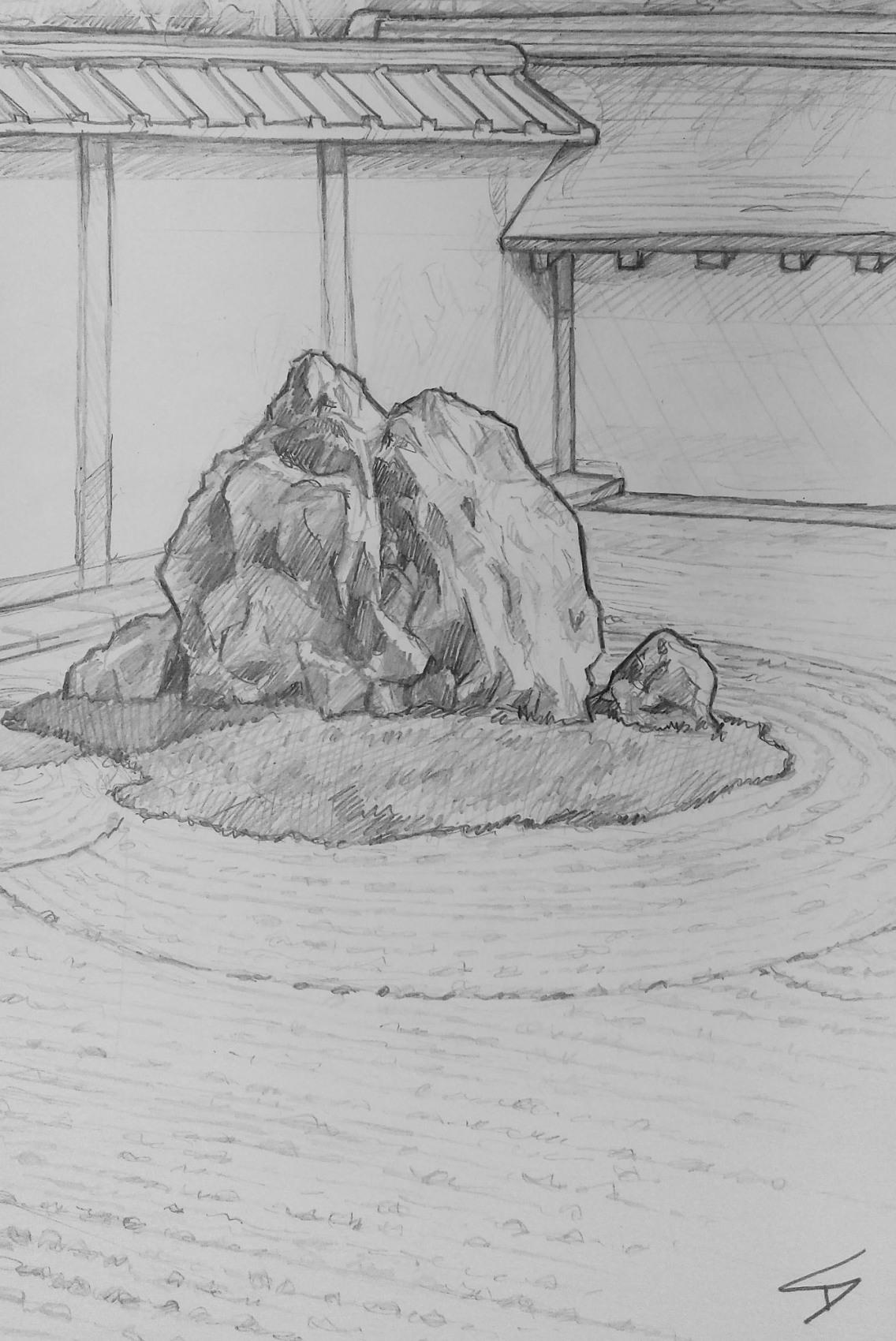 Urban art – Ukyo Ward, Kyoto, Japan. 'Ryoanji Temple.' Artwork from my latest travel art blog article 'Sakura Japan.' Now online - sketchbookexplorer.com @davidasutton @sketchbookexplorer Facebook.com/davidanthonysutton #sketch #drawing #art #japan #kyoto #ryoanjitemple #buddhism #meditation #japanesegardens #gardens #travel #travelblog #cherryblossom #cherryblossomseason #cherryblossomjapan