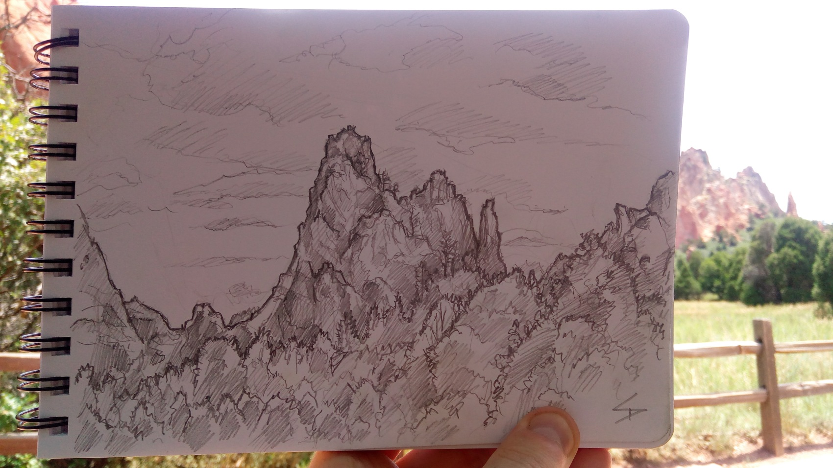 Nature Photo Art - Colorado Springs, Colorado, US. 'Garden of the Gods.' Trying to find shelter from the sun, to sketch, was tough, but in the end I managed to jam my art stool under a small tree, for a little shade. sketchbookexplorer.com @davidasutton @sketchbookexplorer Facebook.com/davidanthonysutton #gardenofthegods #colorado #coloradosprings #unitedstates #USA #travel #travelblog #art #sketching #nature #wildwest