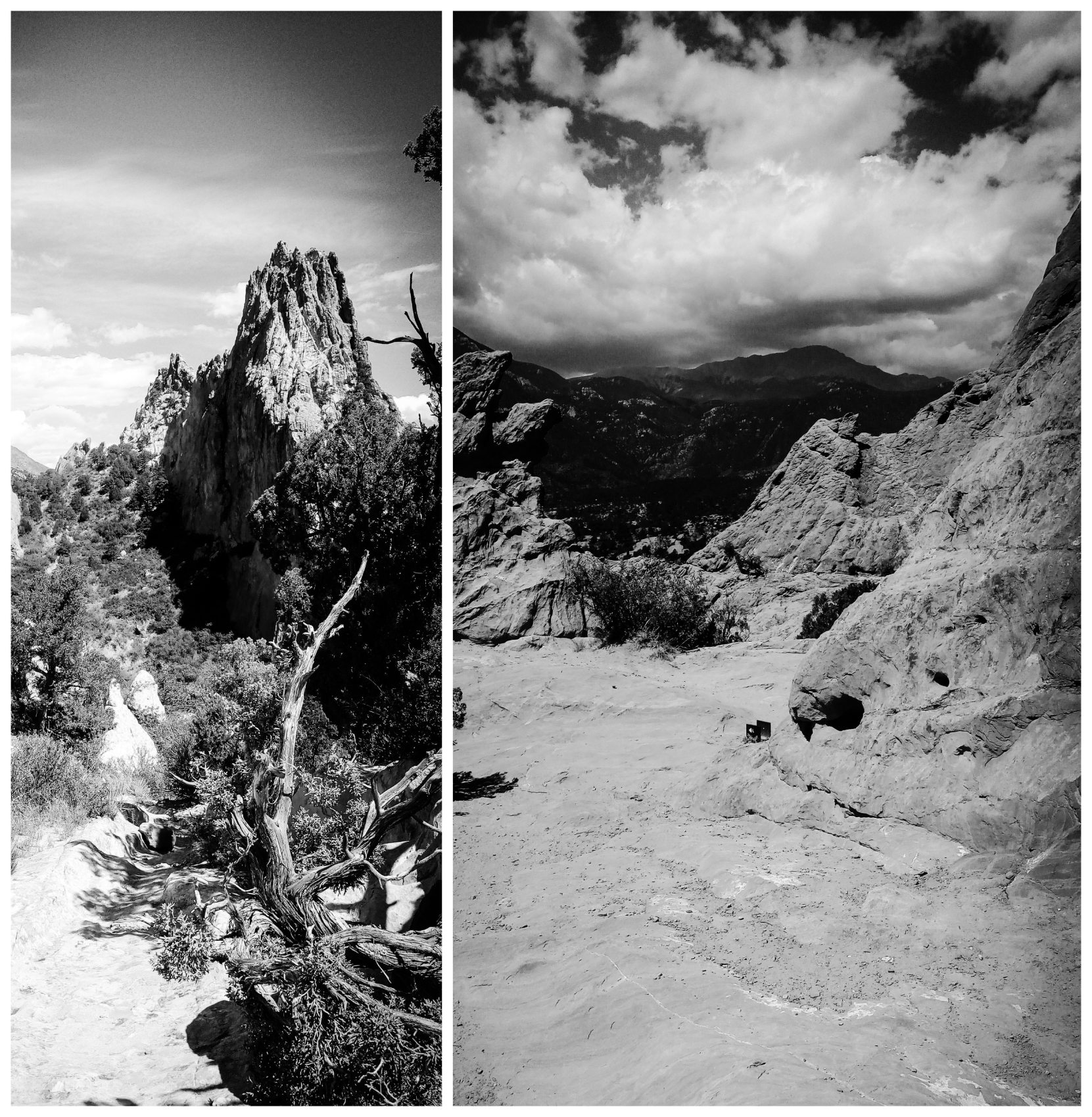 Nature Photos B&W - Colorado Springs, Colorado, US. 'Garden of the Gods.' The area is popular with cyclists and hikers, and has 21 miles of trails. sketchbookexplorer.com @davidasutton @sketchbookexplorer Facebook.com/davidanthonysutton #gardenofthegods #colorado #coloradosprings #unitedstates #USA #travel #travelblog #photography #nature #wildwest