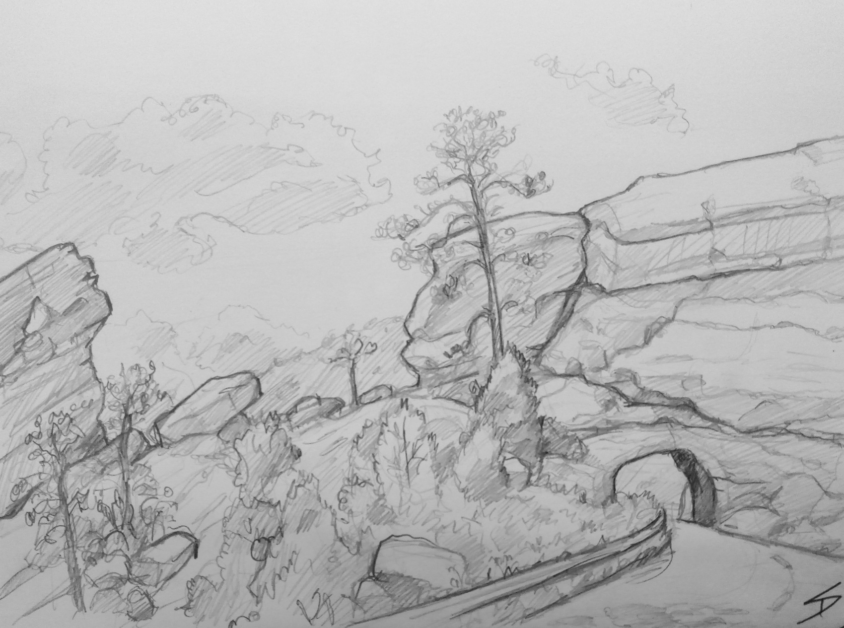 Nature Art - Nr Morrison, Colorado, US. 'Red Rocks Park.' Sketched while sheltering under a tree from the hot summer sun. sketchbookexplorer.com @davidasutton @sketchbookexplorer Facebook.com/davidanthonysutton #redrocksparkcolorado #colorado #redrocksamphitheatre #unitedstates #USA #travel #travelblog #art #sketching #nature #wildwest