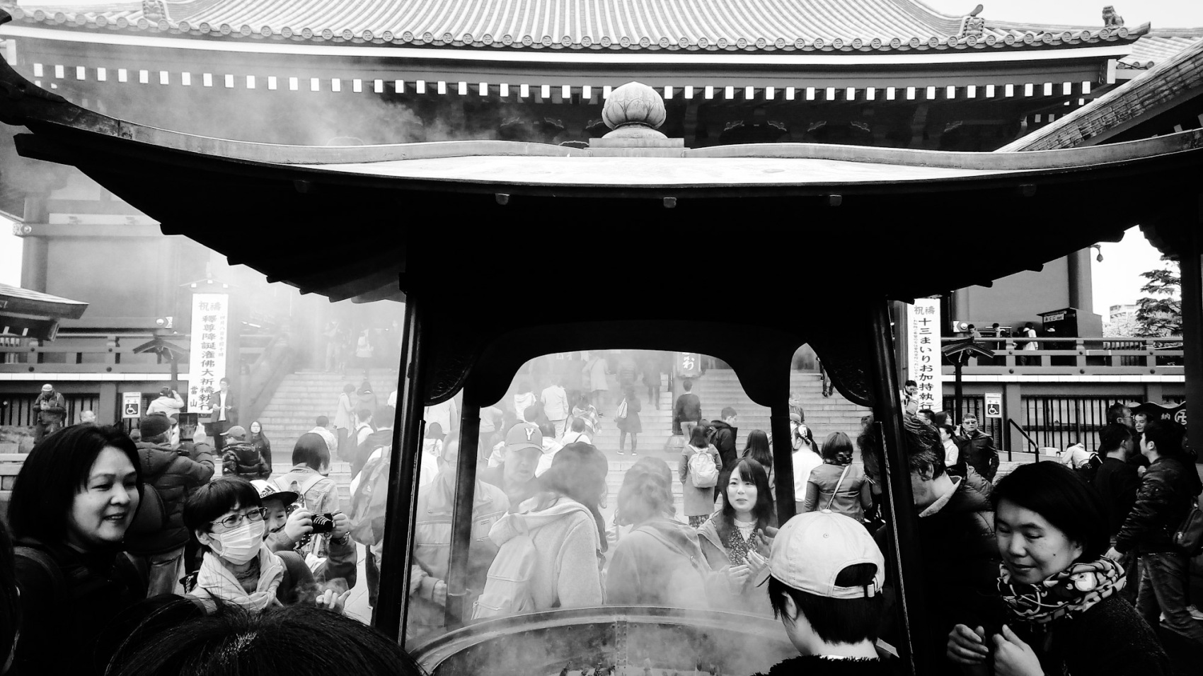 Urban photo – Asakusa, Tokyo, Japan. 'Senso-ji Temple 3.' Complete image from my recent travel art blog article 'Sakura Japan.' Now online - sketchbookexplorer.com @davidasutton @sketchbookexplorer Facebook.com/davidanthonysutton #photography #japan #tokyo #sakura #sensojitemple #buddhism #travel #travelblog #cherryblossom #cherryblossomseason #cherryblossomjapan