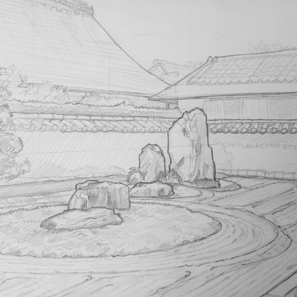 Urban art – Murasakino, Kyoto, Japan. 'Ryogen-in Temple.' Artwork from my latest travel art blog article 'Sakura Japan.' Now online - sketchbookexplorer.com @davidasutton @sketchbookexplorer Facebook.com/davidanthonysutton #sketch #drawing #art #japan #Kyoto #Ryogenintemple #zengarden #meditation #travel #travelblog #cherryblossom #cherryblossomseason #cherryblossomjapan